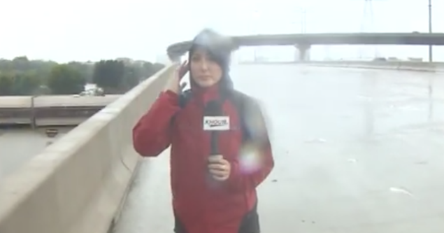 Reporter helps rescue man caught in Harvey flooding, while live on air