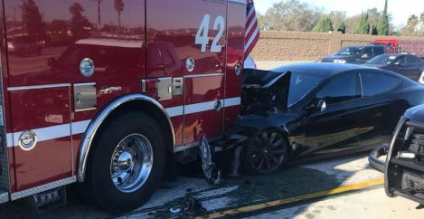 A Tesla Model S slammed into a firetruck with Autopilot enabled