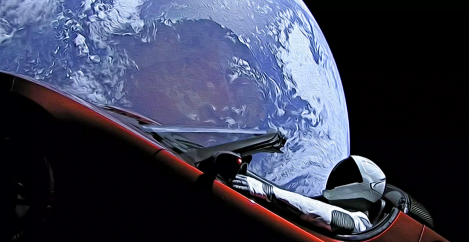 Get a gorgeous wallpaper of the Tesla in space